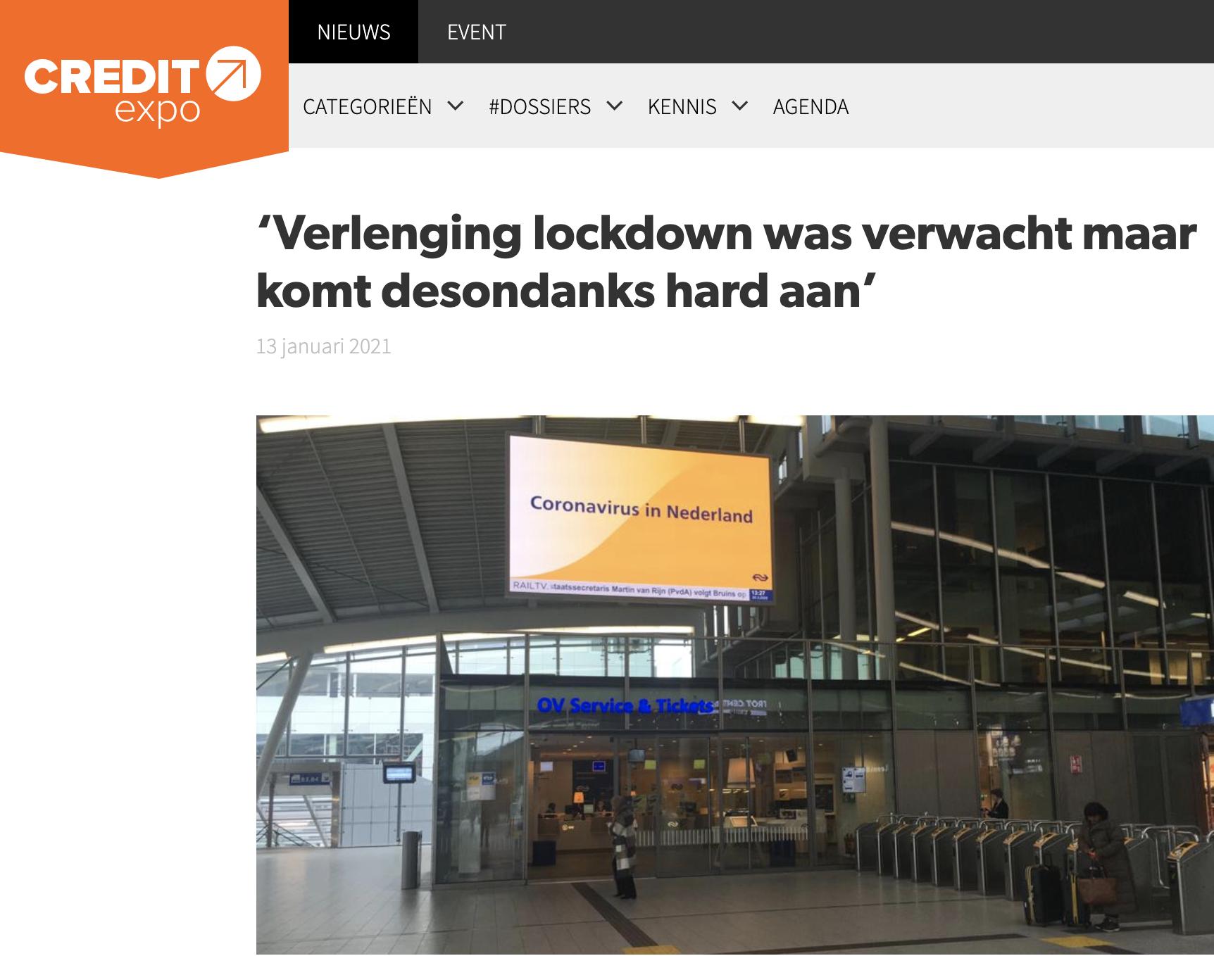Credit Expo: Verlenging lockdown was verwacht maar komt desondanks hard aan'
